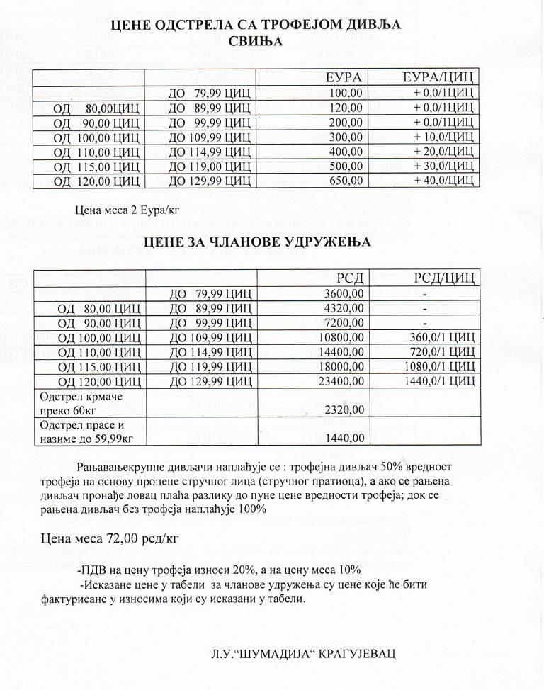 Cene odstrela divlje svinje 2018./19.